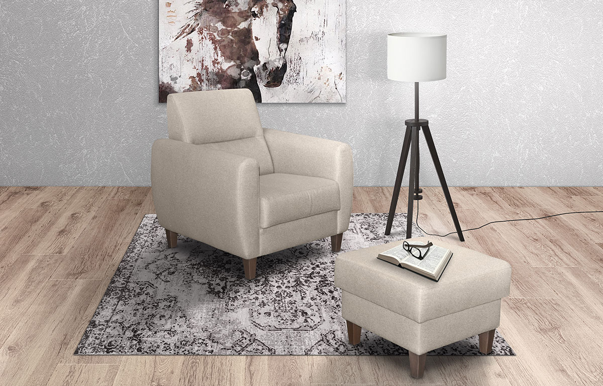 Armchair and Tabouret Perla